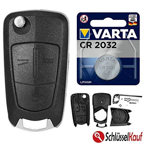 Autoschlüssel Funk Fernbedienung Austausch Gehäuse mit 2 Tasten + Rohling + Batterie kompatibel für Opel Corsa D Tigra B Astra H Zafira B Antara