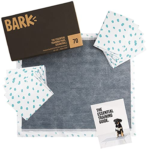 Barkbox Odorless Puppy Pads | 70 Count | Quick Dry, Ultra Absorbent Activated Charcoal Dog Pee Pads, Pet Training Accessories for Housebreaking, Pheromone Attractant | Charcoal | Large
