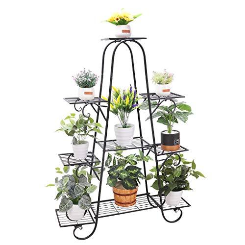 unho Blumentreppe mit 9 Ablagen Blumenständer Blumenregal Metall für innen und außen Balkon Garten, 90 x 22 x 121.5cm