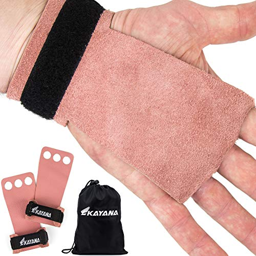 KAYANA 3 Hole Leather Gymnastics Hand Grips - Palm Protection and Wrist Support for Cross Training, Kettlebells, Pull ups, Weightlifting, Chin ups, Workout, Exercise (Youth Pink, Medium)