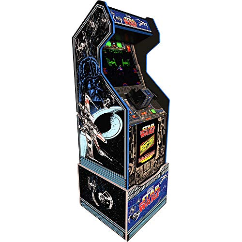 3 Games In 1 includes Star Wars, Star Wars The Empire Strikes Back, and Star Wars Return of the Jedi Custom Riser With Original Artwork 1 Player Records Your High Scores 17 inch Color LCD, Screen Real Feel 4 Button, Trigger Style Flight Yoke