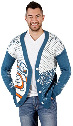 Star Wars BB8 Droid Ugly Christmas Cardigan Sweater (Large) Teal, White