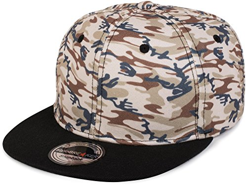 styleBREAKER Snapback Cap mit Camouflage Print, Baseball Cap, verstellbar, Unisex 04023045, Farbe:Beige-Braun