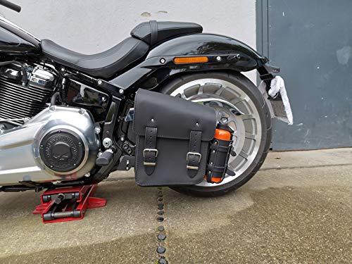 Hulk Black Harley-Davidson Schwarz mit Flaschenhalter Rahmentasche Seitentasche Schwinge Getränkehalter HD Schwingentasche Fatboy Heritage Softail Slim Wildstar Dragstar Yamaha