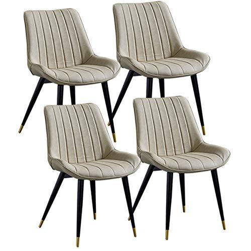 ZYXF Esszimmerstuhl Vintage Dining Chairs Set von 4 Küchentheke Stühle Lounge Freizeit Wohnzimmer Corner Stühle mit schwarzem Metallbeine PU-Leder Sitz und Rückenlehnen (Color : Creamy-White)