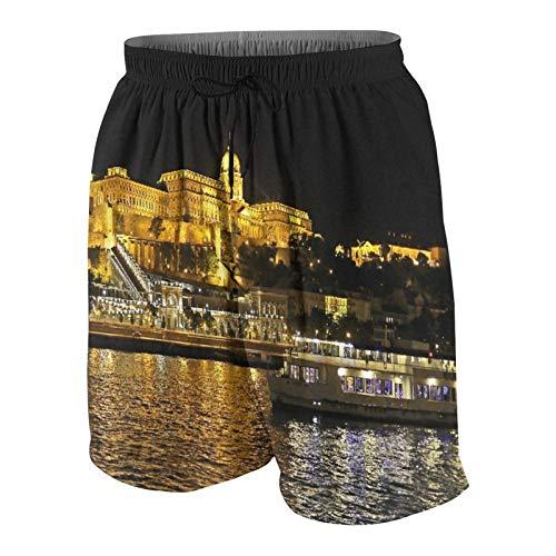 Hommes Short de Bain,Budapest la Nuit Illumination du Palais Royal du Danube,Séchage Rapide Maillot de Bain Vêtements de Plage Tenue de Sport avec Doublure en Maille M