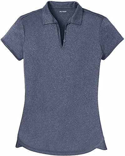 DRI-Equip Ladies Heathered Moisture Wicking Golf Polo-Navy-L