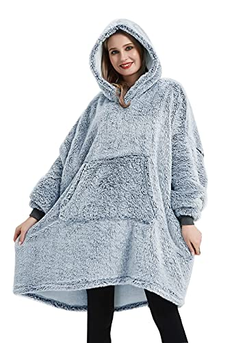 Coastline Sherpa Fleece Sweatshirt Blanket Ultra soft Teddy Bear Warm Cozy Oversized wearable big pocket Hoodie Blanket Throw for Adults Women Girls Men and Teens,One size Fits Alll (Duckegg)