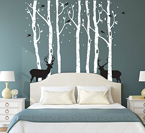 Fymural Forest and Deers Tree Wall Stickers Art Mural Wallpaper for Bedroom Kid Baby Nursery Vinyl Removable DIY Decals 118.1x102.4