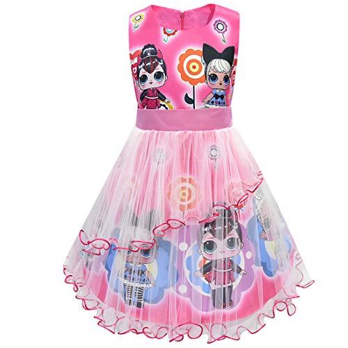 Muñecas de LOL Vestido de niña Cuello Redondo sin Mangas Ropa de Dibujos Animados 3-8Years