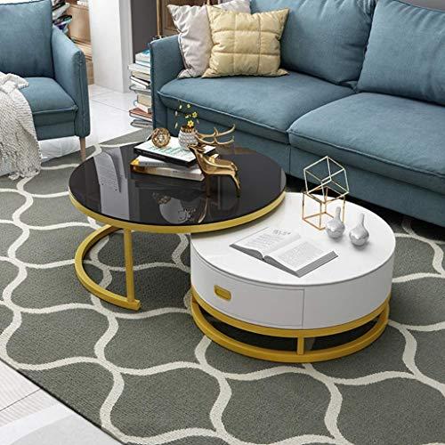 YVX Mesa de té Redonda Lateral de Acero Inoxidable con Extremo de café para Sala de Estar, hogar y Oficina, Juego de 2 (Grande 28 x 18 Pulgadas y pequeña 20 x 15 Pulgadas), Vidrio Templado Negro