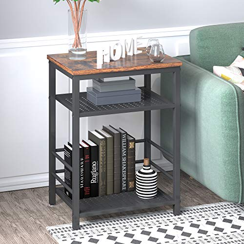 Rhomtree Rustic Brown Nightstand 3-Tier End Table Display Shelves Accent Sofa Side Table Night Stand for Living Room Bedroom Home Furniture Stable Metal Frame and Easy Assembly (Brown)