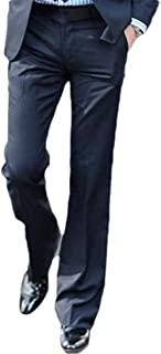 Howely Men Non-Iron Fit Casual Loose Straight Business Plain Front Pant
