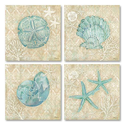 Lovely Watercolor-Style Laguna Seashell, Sand Dollar, and Starfish Ocean Set; Coastal Decor; 4-12x12 Unframed Paper Posters