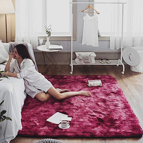 Velvet Shag Area Rug Modern Indoor Plush Fluffy Rugs Extra Soft and Comfy Carpet Anti-Skid Yoga Mat Bedroom Floor Sofa Living Room Shaggy Bedside Rugs,Wine red,195x195cm