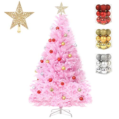 DAPIXA Artificial Christmas Tree Lifelike Christmas Tree with Decorations and Solid Metal Stand Premium Hinged Spruce Full Tree (Pink, 4ft)