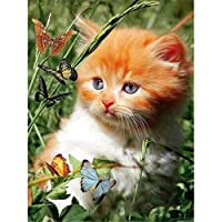 ダイヤモンドの絵画 ダイヤモンドペインティングフルスクエア/ラウンドドリル5Ddiy「動物の猫の花」ダイモンド刺繡ラインストーンクロスステッチの装飾