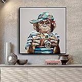 KWzEQ Pintura sin Marco Habitación para niños Mono Arte de la Pared póster Abstracto Animal Moderno salón decoración del hogarAY6779 50X50cm