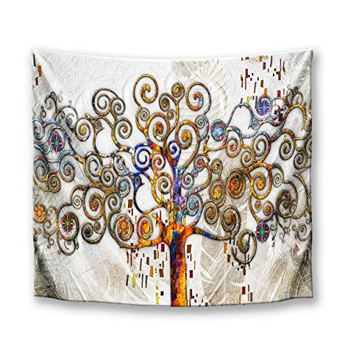 DekoArte TP05 - Tapiz Moderno De Pared Impresión Artística Digitalizada | Tela poliéster 100% decoración para Tu Salón o Dormitorio | Estilo Abstracto Árbol De La Vida Gustav Klimt | 150 x 130 cm