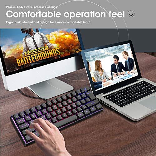 Snpurdiri ST-K3 60% Wired Gaming Keyboard, RGB Backlit Ultra-Compact Mini Keyboard, Waterproof Mini Compact 61 Keys Keyboard for PC/Mac Gamer, Typist, Travel, Easy to Carry on Business Trip(Black)
