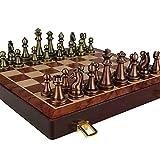 Juego de ajedrez, ajedrez de Lujo de Metal, ajedrez de aleación Chapado en Cobre Retro, Juego de Mesa para Niños Adultos, Caja de Madera portátil, Almacenamiento, Juego de ajedrez Plegable