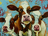 DIY デジタル オイル ペイント セット大人の絵画の色キャンバス上の数字によると 3 頭の牛かわいい動物 40 × 50 センチメートル