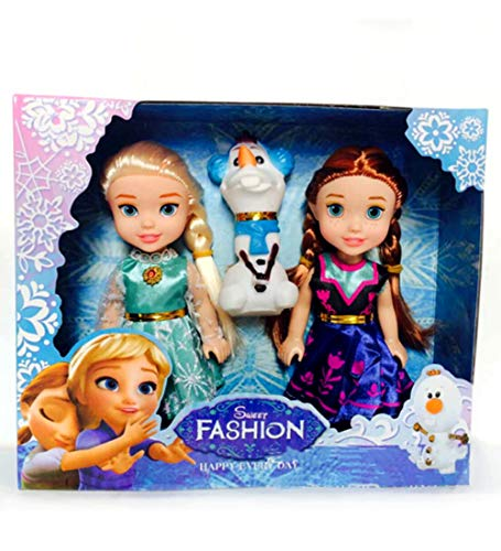 CartCalifornia Anna and Elsa Dolls 3 in 1 Beautiful 7inch Fashion Doll Set with Premium Dresses and Shoes for Kids