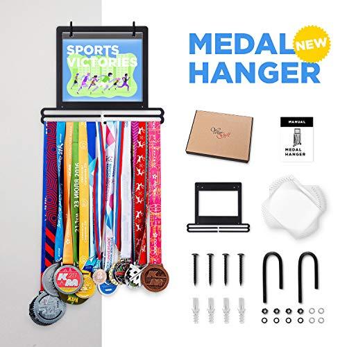 Prof Puro Sports Marathon Medal Display Hanger Holder for 40 Medals 100 Runner Race Bibs 20 Flip Pouches for Race Bibs Photos Memorabilia Medal Holder, Medal Hanger.