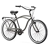 sixthreezero Around The Block Men's 3-Speed Beach Cruiser Bicycle, 26' Wheels, Matte Grey with Black Seat and Grips