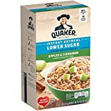 Includes 10 individual packets. Ready in 90 seconds 35% Less Sugar than regular Quaker Instant Oatmeal. Regular Apples & Cinnamon Instant Oatmeal has 12g of sugar per serving. This product has 6g. Tart sweetness of apples blended with rich cinnamon...
