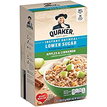 Quaker Instant Oatmeal Lower Sugar Apple Cinnamon Breakfast Cereal 10 Packets