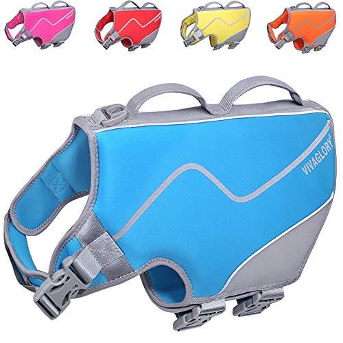 VIVAGLORY Große Schwimmweste für Hunde, Bequeme Schwimmweste aus Neopren für Hunde mit Starkem Auftrieb & Rettungsgriff, Blau, Größe L
