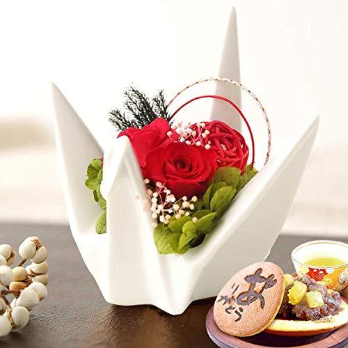 誕生日 の プレゼント 人気商品 花 バラ おいもや どら焼き お菓子 花とスイーツ お祝いギフト プリザーブドフラワー アレンジメント 折り鶴 (白)