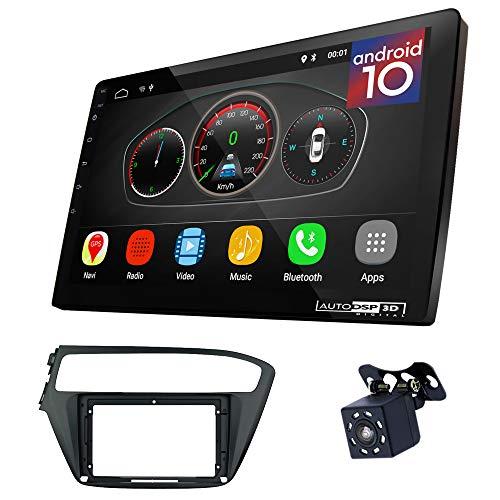 UGAR EX10 9 pollici Android 10.0 DSP Navigazione GPS per Autoradio + 11-799S Kit di Montaggio compatibile per HYUNDAI i-20 2018+ (Left Wheel)