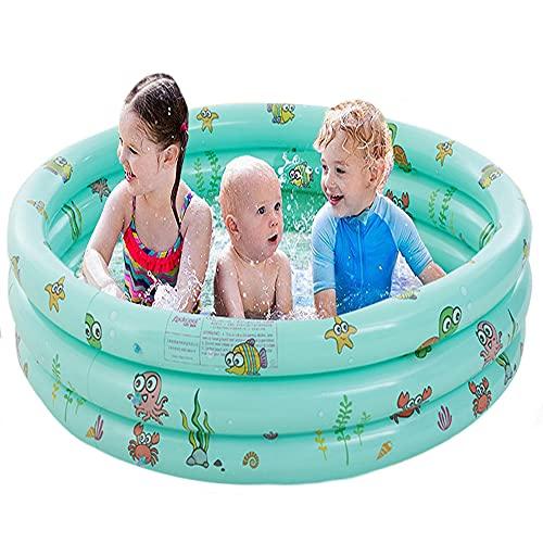 FANIER Piscina Hinchable para niño, Redonda Piscina Inflable Hinchable bañera Hinchable para jardín, 3 Cámara de Aire Individuales, 130 cm de diámetro, 38 cm de Altura,Verde