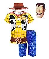 (ホーマイ)HOOMAI トイストーリー4 子供服 上下セット ウッディ コスプレ 仮装 ハロウィン コスチューム キッズ セットアップ 長袖 半袖 黄色 チェック 牛乳柄 110 半袖4点セット
