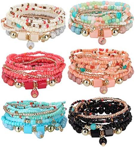 Udalyn 6 Sets Bohemian Stackable Bead Bracelets for Women Men Multilayered Bracelet Set Pendant product image