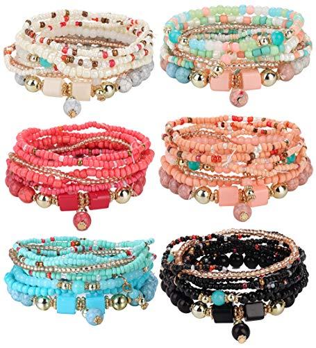 Udalyn 6 Sets Bohemian Stackable Bead Bracelets for Women Men Multilayered Bracelet Set Pendant Charm Stretch Bangles