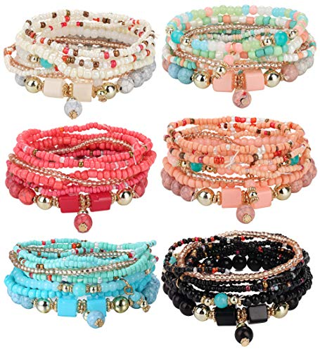 Udalyn 6 Sets Bohemian Stackable Bead Bracelets for Women Men Multilayered Bracelet Set Pendant Charm Stretch Bangles