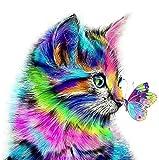 Gemälde für Erwachsene, Diamond Malerei Katze und Schmetterling, 5D Diamant Painting kinderStrass-Stickerei, Kreuzstich-Kits für Kunstwerke, Leinwand, Wanddekoration, 30 x 30 cm