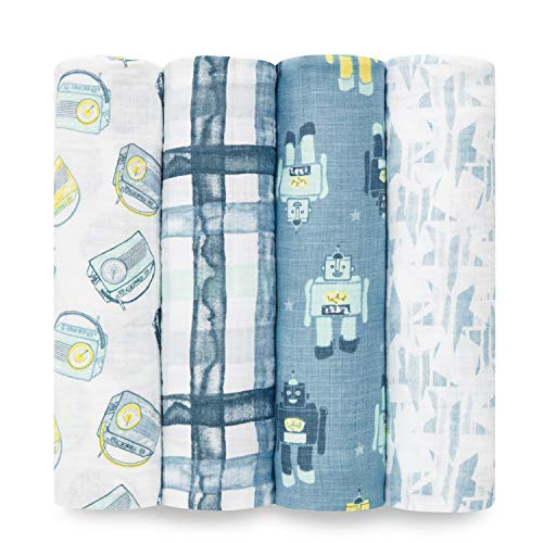 Aden by aden + anais Swaddle Blanket, Muslin Blankets for Girls & Boys, Baby Receiving Swaddles, Ideal Newborn Gifts, Unisex Infant Shower Items, Toddler Gift, Wearable Swaddling Set, 4 Pack, Retro