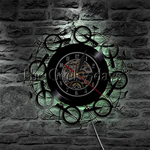 ZZLLL Bicicleta Retro Moderno Reloj de Vinilo Retro Bicicleta LP Reloj Colgante de Pared Arte Movimiento luz LED decoración de la Sala de Estar Reloj Creativo-con LED