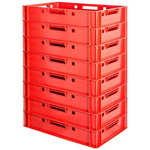 8 Stück E1 Fleischkisten Rot Kisten Eurobox Lebensmittelecht Metzgerkiste Box Aufbewahrungsbox Kunststoff Wanne Plastik Stapelbar Lagerkisten 60 x 40 Kingpower