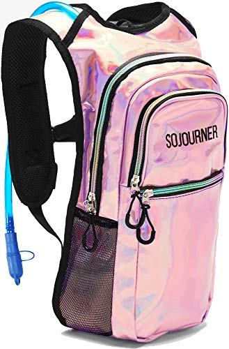 Sojourner Rave Hydration Pack Backpack  2L Water Bladder Included for Festivals Raves Hiking Biking Climbing Running and More Medium Holographic  Pink