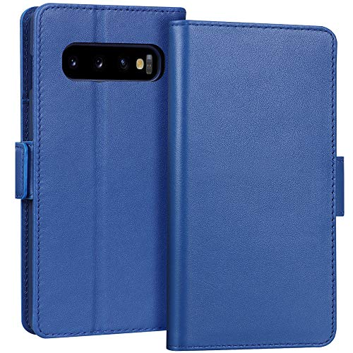 """FYY Samsung Galaxy S10 6.1"""" Luxury [Cowhide Genuine Leather][RFID Blocking] Handcrafted Wallet Case, Handmade Flip Folio Case with [Kickstand Function] and [Card Slots] for Galaxy S10 (6.1"""") Blue"""