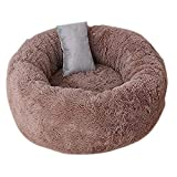 ZZAI Pets Cat Bed Pets Shag Plush Donut Cuddler Calming Bed Round Plush Cat Cat Mat Colchoneta con Almohada