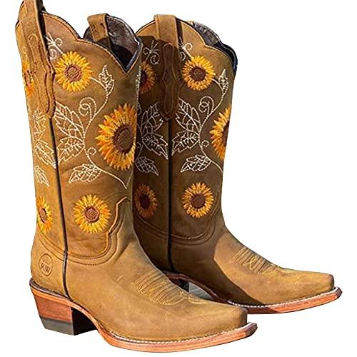 LLDG reitstiefel damen Langschaft Martin boots Vielseitige Halblange Stiefel Vintage Cowboy Stiefel mode westernstiefel rutschfest Schlupfstiefel Mode Outdoor Boots Atmungsaktive Halblange Stiefel