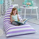 Butterfly Craze Large Stuff Animal Storage Bean Bag Chair Cover for Kids Teens (Purple/White Striped)