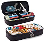 Pencil Case Big Capacity Storage Holder Desk Pen Pencil Marker Stationery Organizer Pencil Pouch with Zipper,Mad Design Of Cards Clocks Tea Pots Keys Flowers Fantasy World Illustration
