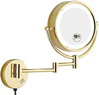 Makeup Mirror, 8.5'' Mirror Shaving Mirrors Wall Mounted with 1x/10x Magnification, Round Shaped Double-Sided Vanity Mirror, Extendable LED Illuminated Wall Mirror